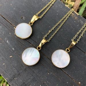 Natural shell, 14K gold mother of pearl necklace